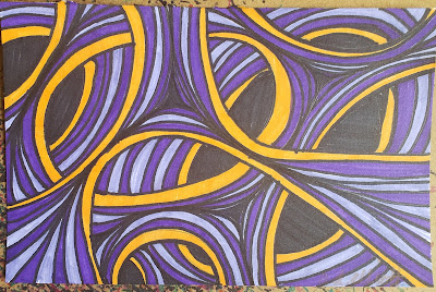 A pen and ink doodle meditation in yellow and purples and a blurb about nuclear science, foreign aid, and tsetse flies.