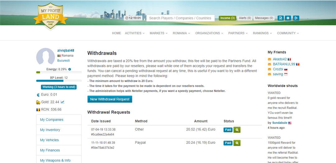 Tampilan Bukti Pembayaran dari MyProfitLand (Withdrawn)