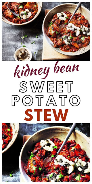 Kidney Bean & Sweet Potato Stew.  A hearty and comforting potato and bean stew made with kidney beans and sweet potatoes.