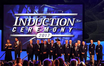 The living members of the NASCAR Hall of Fame gather as a group at the conclusion of the 2017 Hall of Fame Induction Ceremony at NASCAR Hall of Fame on January 20, 2017 in Charlotte, North Carolina.