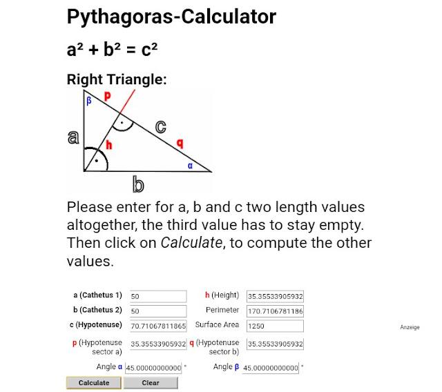 Hasil Hitung panjang sisi A dan B menggunakan calcultor Phytagoras Online