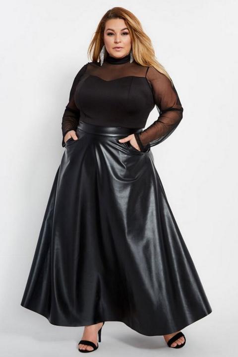 С чем носить кожаную юбку 2-1