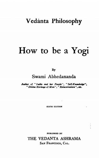 How to be a Yogi -Swami Abhedananda in pdf