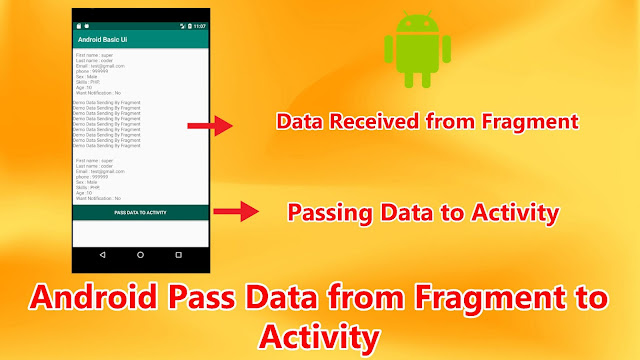 android pass data from fragment to activity