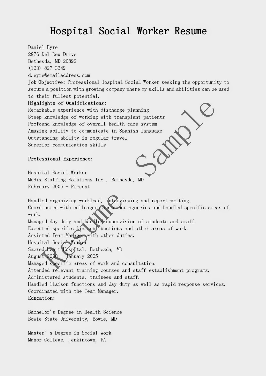 sample resume of hospital social worker