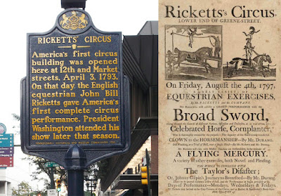 Marker in Philadelphia commemorating the first circus, and flyer from 1797 advertising Rickett's Circus