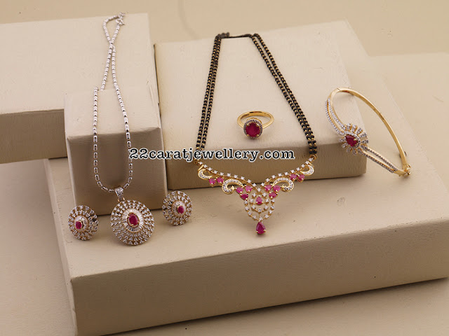 Mangalsutra Designs with Ruby Diamond Locket