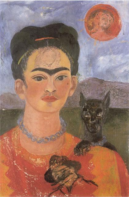 Фрида Кало - Автопортрет с портретом Диего на груди и Марией между бровей. 1953-1954