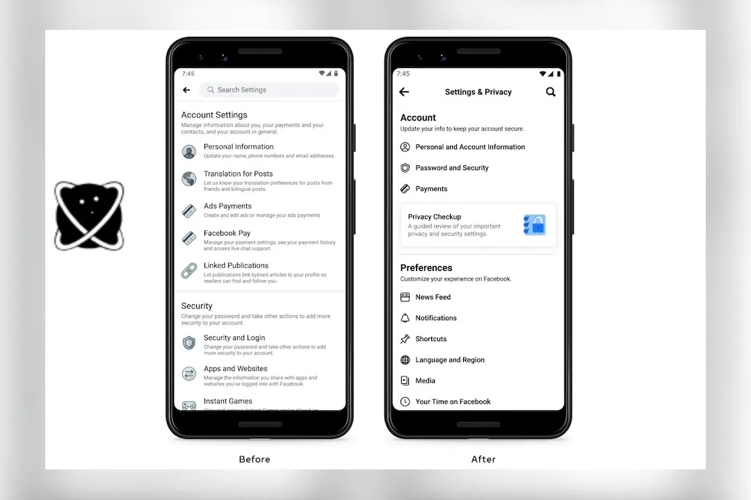Settings for Facebook on Mobile Devices Streamlined to Make Finding What You Need Easier