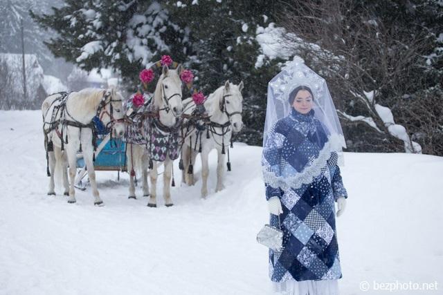 русская тройка зимой фото
