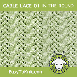 Easy To Knit - Cable and Lace stich pattern #Knittingintheround