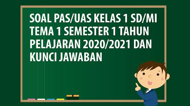 Soal PAS/UAS Kelas 1 SD/MI Tema 1 Semester 1 Tahun 2020