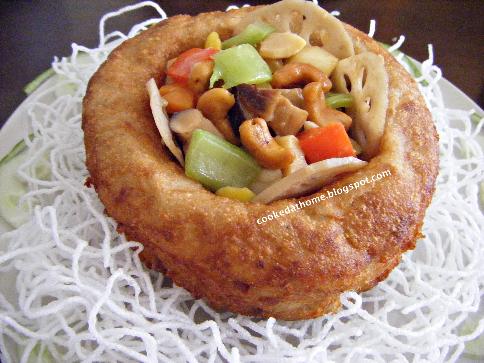 Cooking @ Home: Deep Fried Yam Ring With Assorted Vegetables