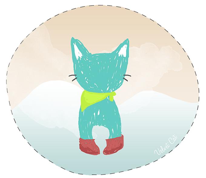 gato verano lamina ilustración freebie