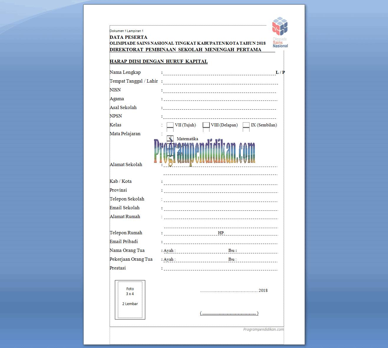 biodata peserta osn