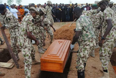 Photos: Mass burial of soldiers killed by Boko Haram attacked in the North East