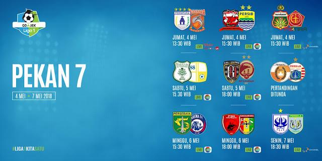 Jadwal Baru Liga 1 2018 Pekan 7