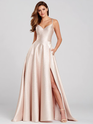 Ellie Wilde A-line Rose Quratz color Prom dress