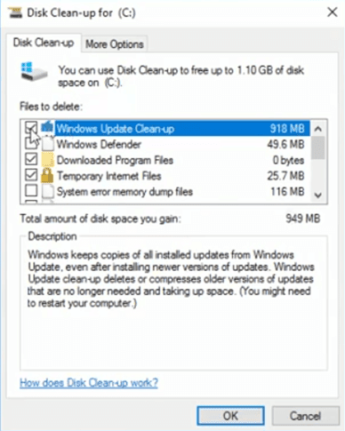 Disk Cleanup Windows update cleanup