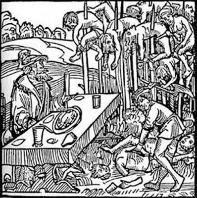 """Xilografia dal frontespizio di un opuscolo del 1499 pubblicato da Markus Ayrer a Norimberga. Raffigura Vlad III """"l'Impalatore"""" (identificato come Dracole wyade = Draculea voivode) che cenava tra i cadaveri impalati delle sue vittime."""