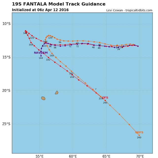 trajectoire et intensité prévues pour la forte tempête tropicale Fantala