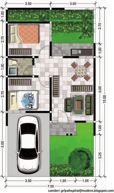 denah rumah minimalis dengan lebar 6 meter 1 lantai