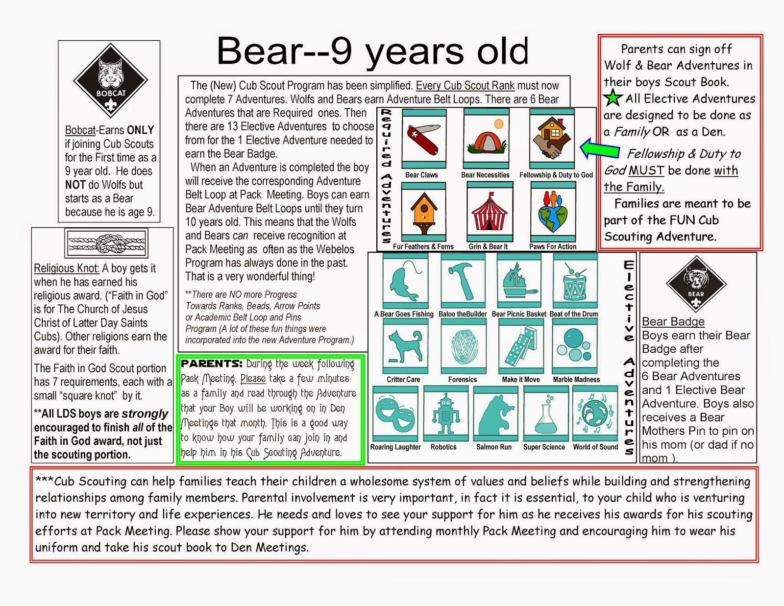 New Cub Scout Stuff New Cub Scout Bear Basics