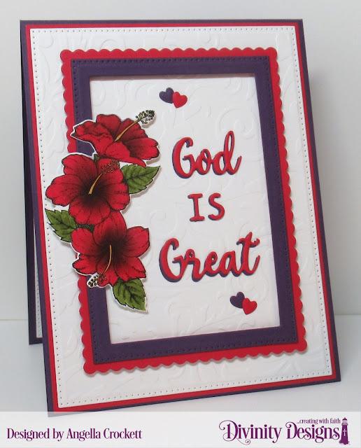 Divinity Designs LLC: Great Faith Stamp/Die Duos, Flourishes Embossing Folder, Family Names 1 Dies, Alphabet Flags Dies, Pierced Rectangles Dies, Scalloped Rectangles Dies, Clouds and Raindrops Dies; Card Designer Angie Crockett