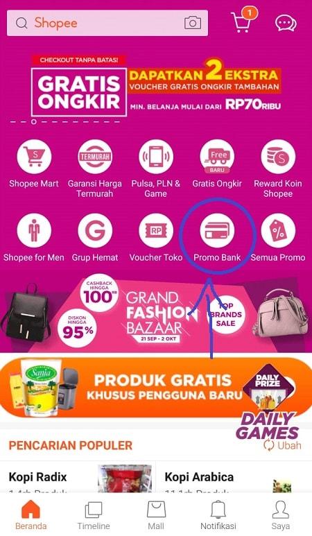 Klik Menu Promo Bank Shopee