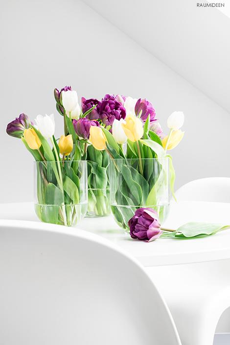 Eine fröhliche Blumendekoration mit bunten Tulpen.