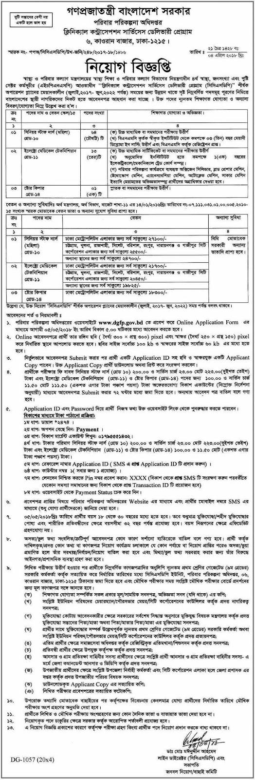 DGFP job circular Exam Result Notice 2018
