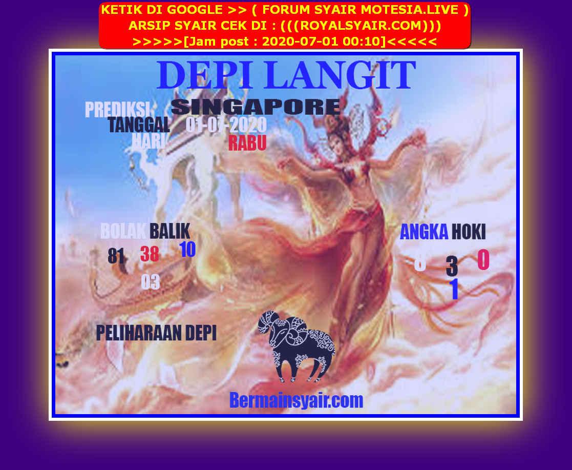 Kode syair Singapore Rabu 1 Juli 2020 205