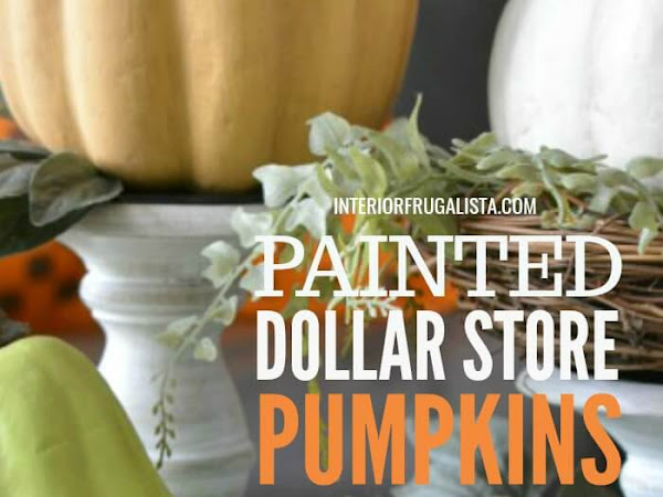 Farmhouse Painted Dollar Store Pumpkins Vignette