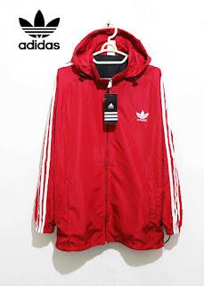 Jaket Adidas Parasut Full Merah List Putih 018 Originals