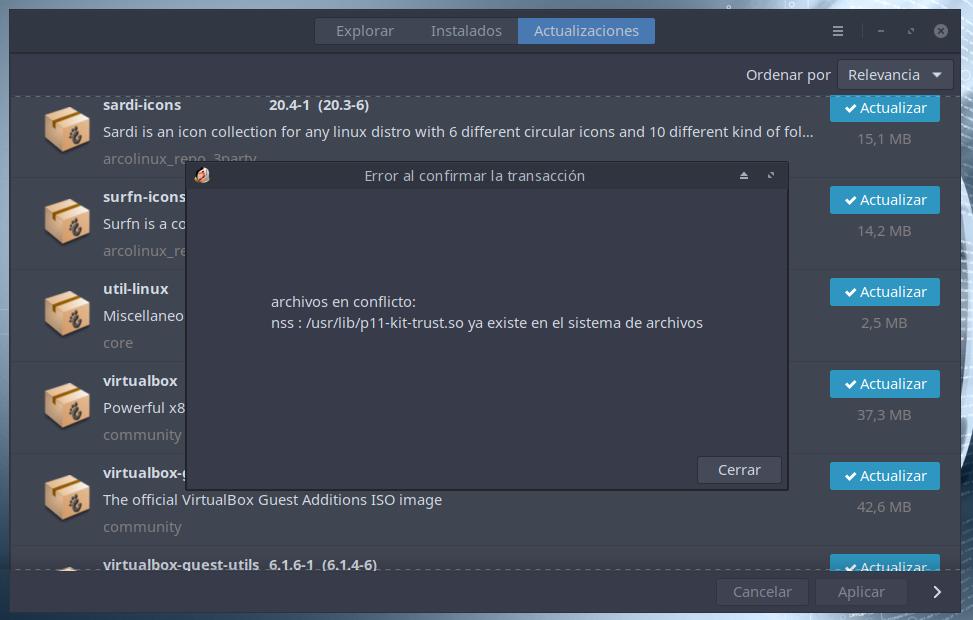Pacman conflicto de Archivos al Actualizar