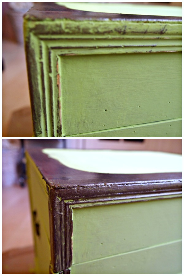 Transforming an old Bombay Company trunk into a colorful side table.