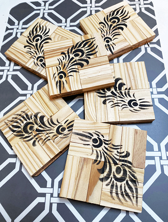 Pile of stenciled coasters