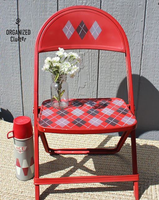 Vintage Child's Folding Chair Stenciled with an Argyle Stencil #oldsignstencils #stencil #argyle #vintage #retro #foldingchair