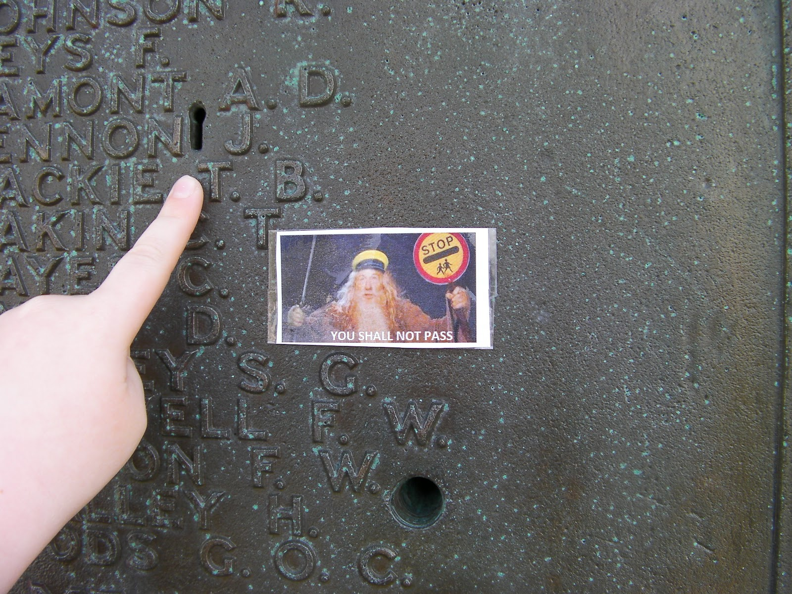 keyhole in war memorial gandalf the wizard says you shall not pass