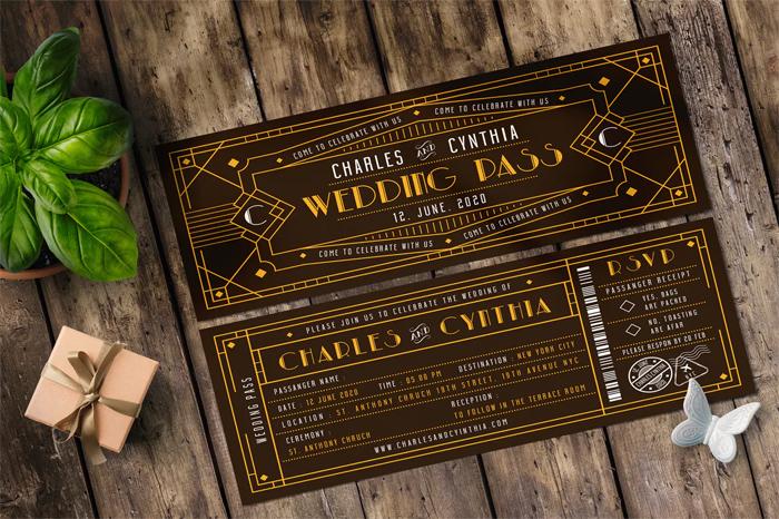 Art Deco Ticket Wedding Invitation Ai and Psd Bundle  1