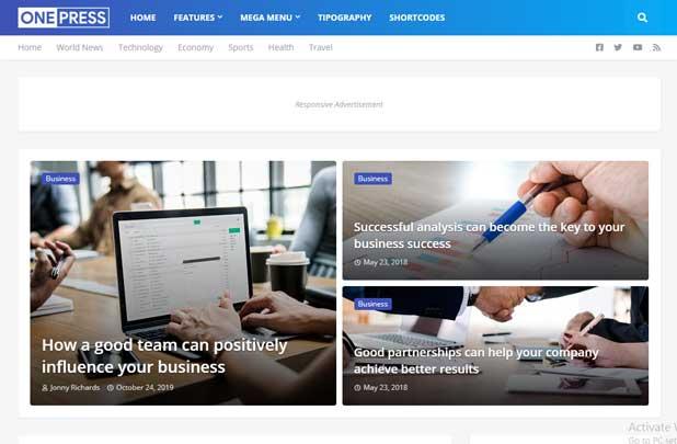 OnePress - Premium looking Free Blogger Template