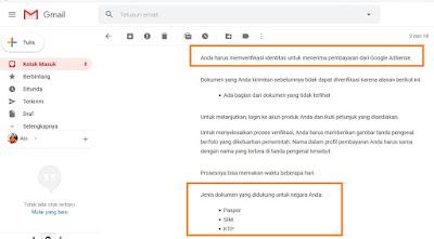 Verifikasi Indentitas di Akun Google Adsense