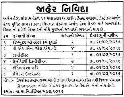District Urban Health Unit Various Recruitment 2016