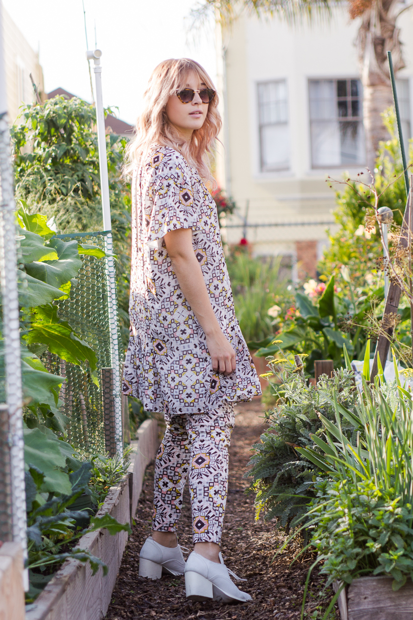 How to style printed French Connection matching separates pants and dress styled by Bryn Newman of Stone Fox Style