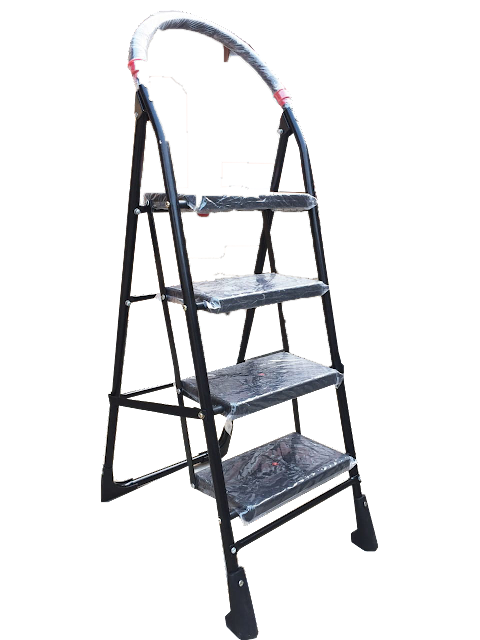 Step Folding  Ladder In Black,Parasnath Black Heavy Folding Ladder with wide steps Milano 4 step .