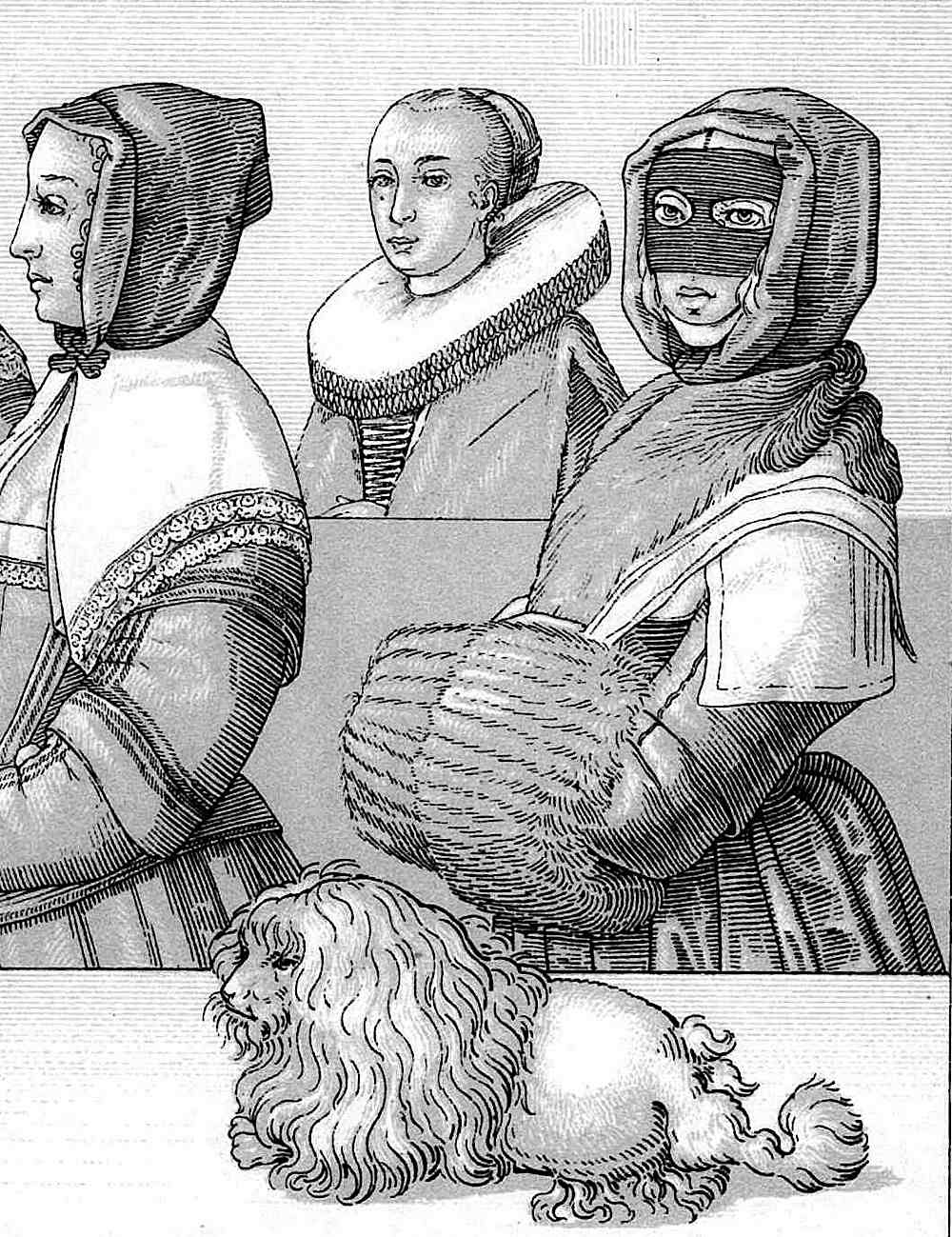 face-covering fashion in 1600s France, with an early poodle