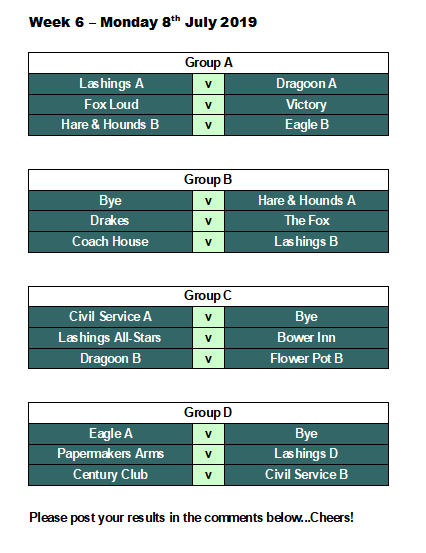 Official Lashings Pool League: Week 6 Fixtures