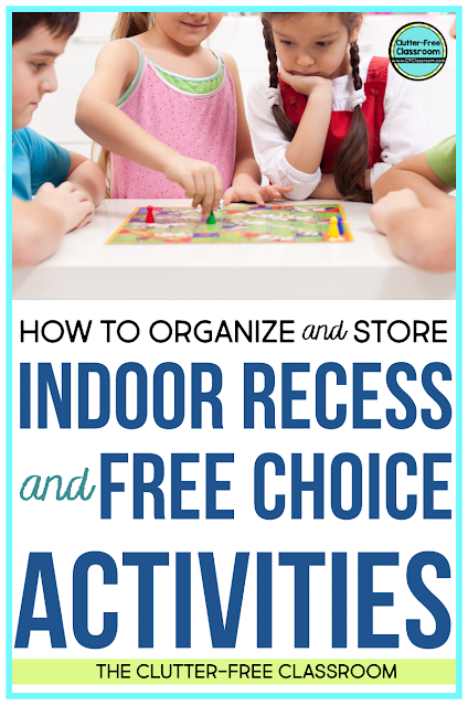 Indoor recess can get a little crazy on a rainy day! Make sure you are ready with simple free choice activities and strong classroom organization by checking out these simple strategies and ideas in this blog post.