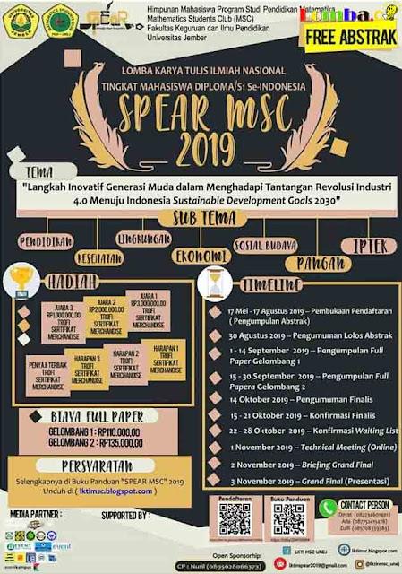 Lomba Karya Tulis Ilmiah Nasional Spear MSC 2019 Untuk Mahasiswa