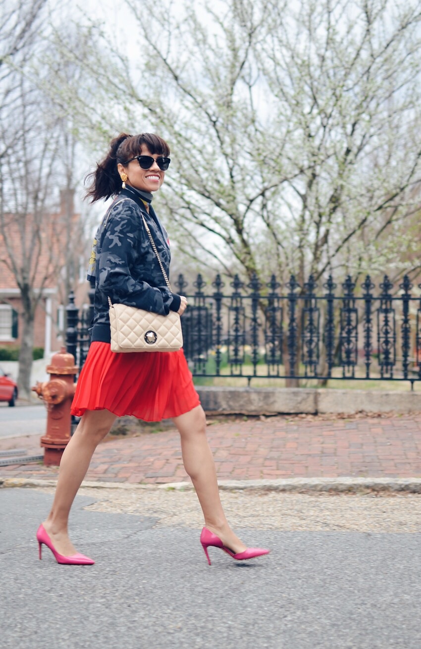 Street style outfit with red and pink
